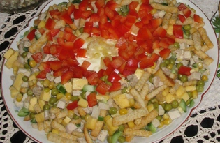 "Рецепт ""Салат с сухариками"" пошаговое фото"