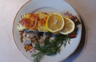 Рецепт рыбы с грибами под сырным соусом с пошаговыми фото