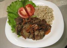 Жареная куриная печень с луком и морковью (пошаговый фото рецепт)