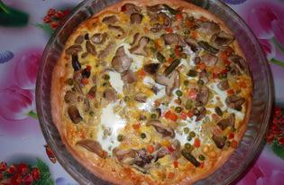 Пицца с овощами и грибами. Рецепт с пошаговым фото