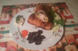 Рулет из куриной грудки фаршированный сыром и шампиньонами (Рецепт с пошаговыми фото)