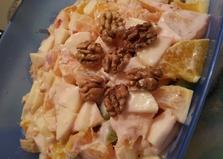 """Рецепт """"Фруктовый салат с орехами и йогуртом"""" пошаговое фото блендер"""