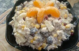 Салат из курицы, ананаса и грибов (пошаговый фото рецепт)