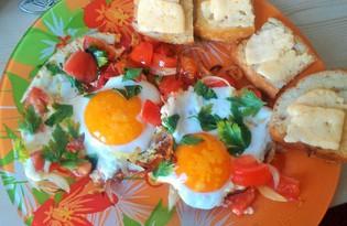 Яичница с помидорами и зеленью (рецепт с пошаговым фото)