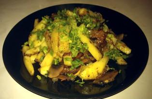 Картофель жареный с грибами и шкварками (пошаговый фото рецепт)