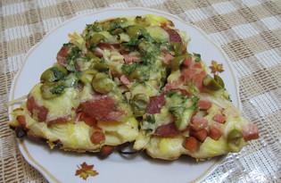 "Рецепт ""Пицца на сковороде"" пошаговое фото"