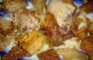 Курица на бутылке (пошаговый фото рецепт)