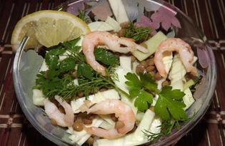 Салат из чечевицей и креветками (пошаговый фото рецепт)