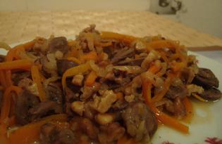 Куриные сердечки с грецкими орехами (пошаговый фото рецепт)