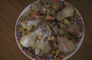 """Рецепт """"Голень куриная в рукаве с овощами"""" пошаговое фото"""