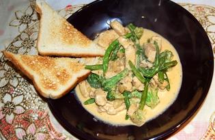 Куриные грудки с зеленой фасолью и брокколи в сливочном соусе (пошаговый фото рецепт)