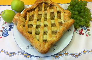 Слоеный пирог с яблочно-виноградной начинкой (рецепт с пошаговыми фото)
