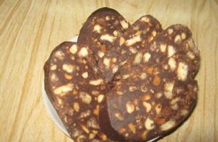 Шоколадная колбаса (пошаговый фото рецепт)