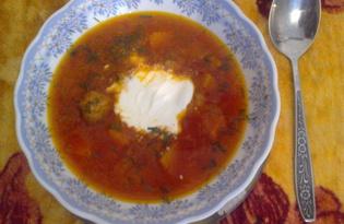 Борщ с фрикадельками и квашеной капустой (пошаговый фото рецепт)