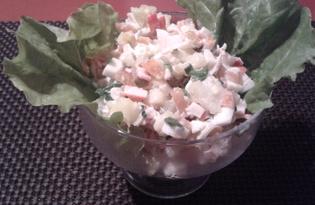Салат с семгой и крабовыми палочками (пошаговый фото рецепт)
