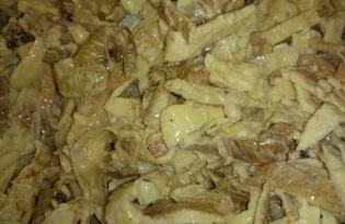 Салат из яичных блинчиков (пошаговый фото рецепт)