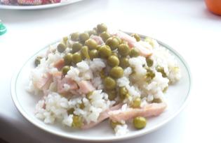 Рис с ветчиной и зеленым горошком (рецепт с пошаговыми фото)