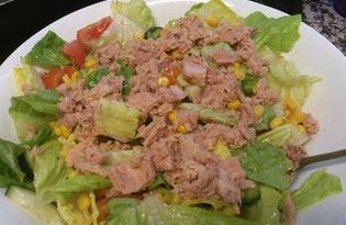 Овощной салат с тунцом (пошаговый фото рецепт)