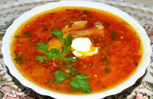 Украинский борщ с фасолью (пошаговый фото рецепт)