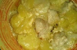 Запеченое мясо с картошкой под соусом в мультиварке Brand 502 (пошаговый фото рецепт)