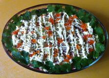 Копченая семга с овощами и красной икрой (рецепт с пошаговыми фото)