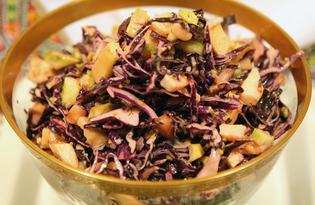 Авторский салат из краснокачанной капусты (пошаговый фото рецепт)