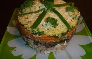 Слоеный куриный салат (рецепт с пошаговыми фото)