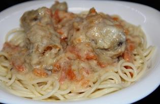 Спагетти с курицей в соусе на основе молока (рецепт с пошаговыми фото)
