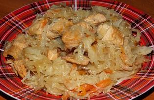 Квашеная капуста, тушенная с курицей (пошаговый фото рецепт)