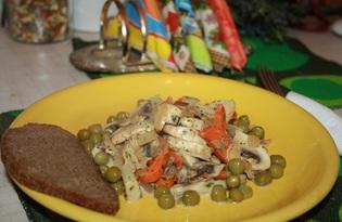 Шампиньоны с овощами в сливочном соусе (рецепт с пошаговыми фото)