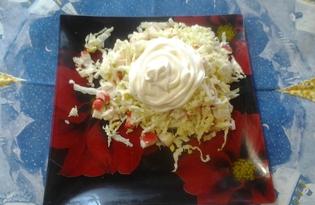 Лёгкий салатик из пекинской капусты с крабовыми палочками (пошаговый фото рецепт)