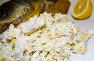 Салат из копчёно-вяленой рыбы (толстолобикa) (пошаговый фото рецепт)
