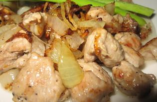 Свинина с жареным луком (пошаговый фото рецепт)