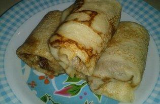 Блины, фаршированные ливерной колбасой (пошаговый фото рецепт)