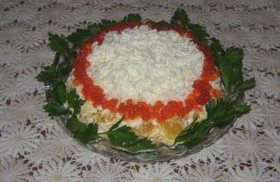 Салат с сёмгой, апельсином и красной икрой (пошаговый фото рецепт)