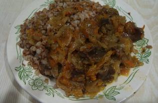 Куриные желудки под овощной подушкой с гарниром (пошаговый фото рецепт)