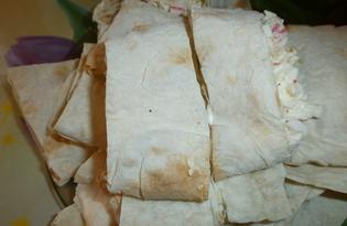 Лаваш с крабовыми палочками (пошаговый фото рецепт)
