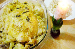 Курица, тушёная со свиным салом в капусте (пошаговый фото рецепт)