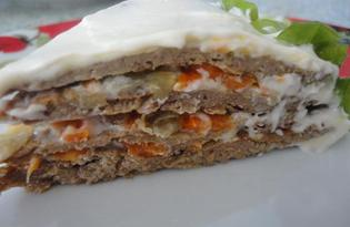 Печеночный торт на сметане (пошаговый фото рецепт)