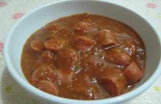 Сосиски в густом томатном соусе (пошаговый фото рецепт)