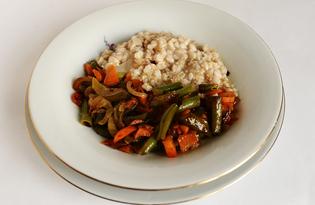 Стручковая фасоль с овощами и кашей (пошаговый фото рецепт)