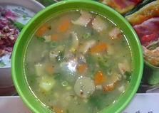 Весенний гречнево-грибной суп с кукурузой, зеленым горошком и беконом (пошаговый фото рецепт)