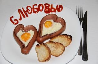 Яичница в сосиске (пошаговый фото рецепт)