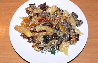 Грибы жареные с картофелем в сметане (пошаговый фото рецепт)