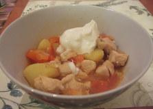 Тушеная картошка с курицей (пошаговый фото рецепт)