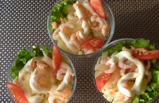 Салат коктейль с креветками (пошаговый фото рецепт)