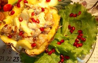 Свинина с ананасами и гранатом в половине ананаса (пошаговый фото рецепт)