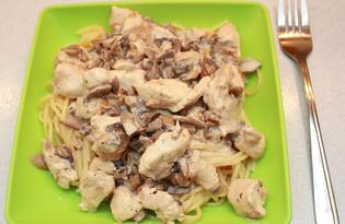 Паста с курицей и шампиньонами (рецепт с пошаговыми фото)
