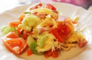 Овощной салат с копченым мясом (рецепт с пошаговыми фото)