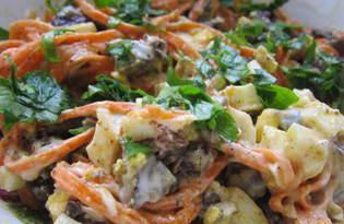 Салат с корейской морковью и печенью (пошаговый фото рецепт)